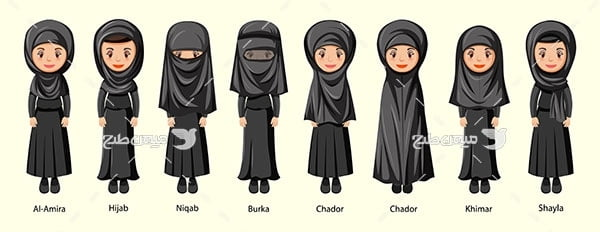 وکتور زن مسلمان سیاه پوش