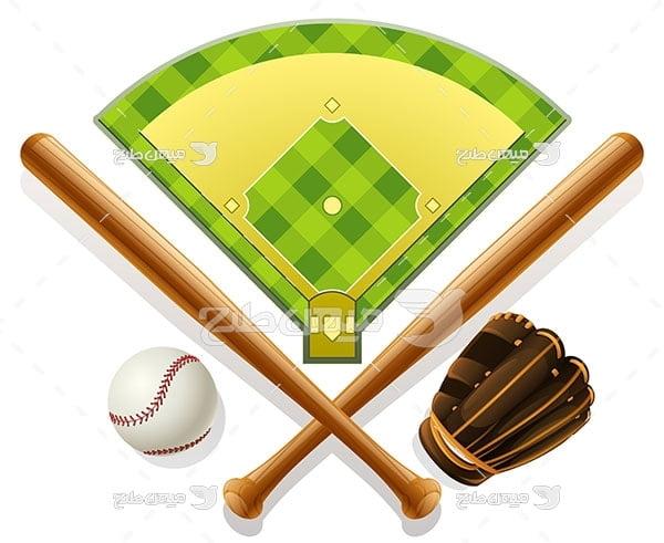 وکتور وسایل ورزش بیسبال
