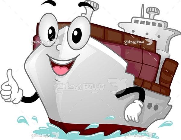 وکتور نقاشی کارتونی کشتی