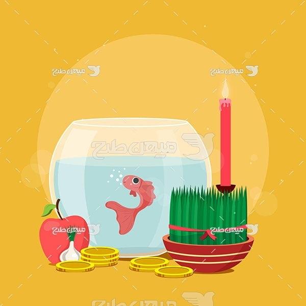 وکتور ماهی و سبزه عید