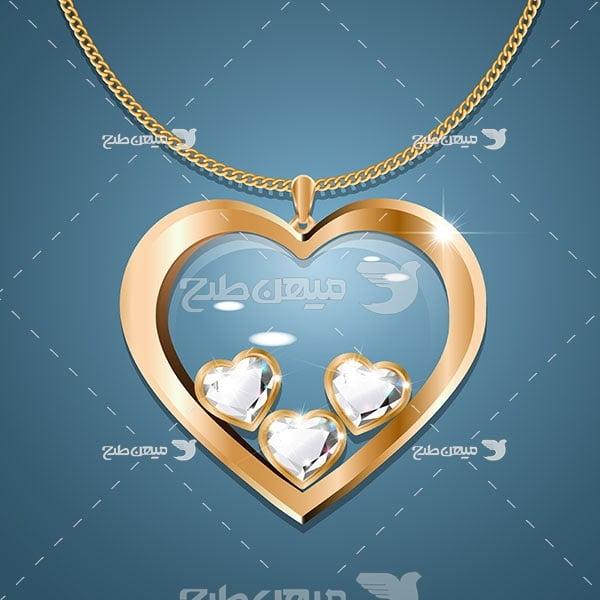 وکتور گردنبند طلا طرح قلب