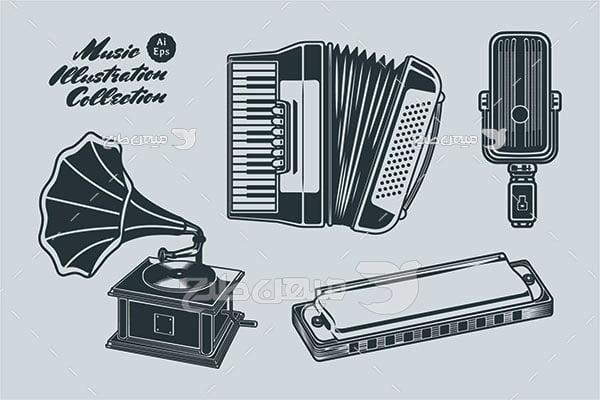 وکتور آلات موسیقی و ساز