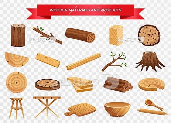 وکتور وسایل چوبی