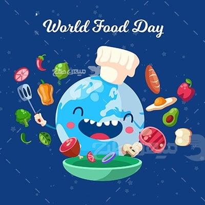 وکتور کاراکتر غذا روز جهانی غذا