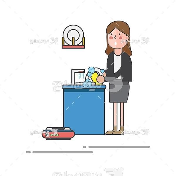 وکتور شستن ظرف