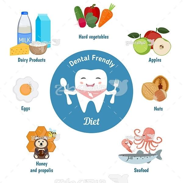 وکتور کاراکتر غذا سالم برای دندان