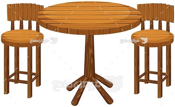 وکتور میز و صندلی چوبی