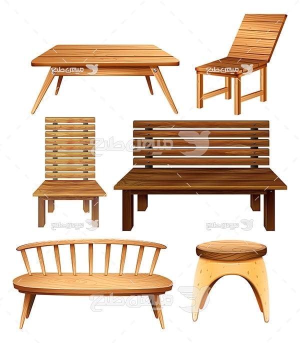 وکتور صندلی و نیم کت چوبی