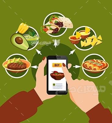وکتور کاراکتر غذا سفارش غذا