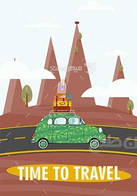 وکتور کاراکتر مسافرت باماشین شخصی