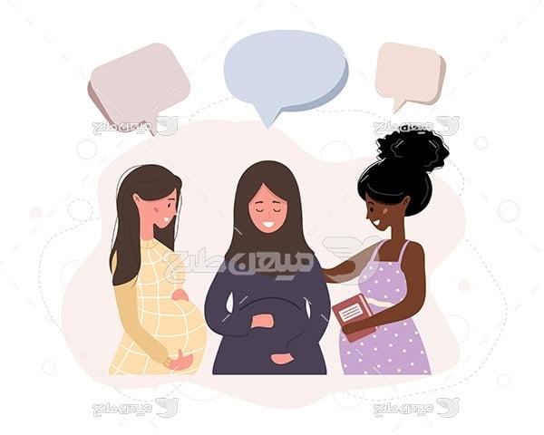 وکتور زنان باردار