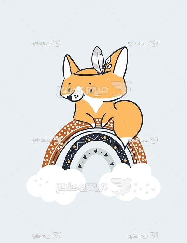 وکتور نقاشی کارتونی روباه و رنگین کمان