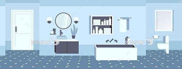 وکتور نمای داخل حمام و سرویس بهداشتی