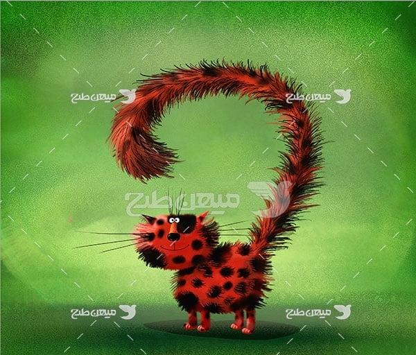 عکس گربه قرمز خال خالی