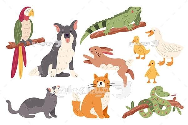 وکتور حیوانات وحشی جنگل