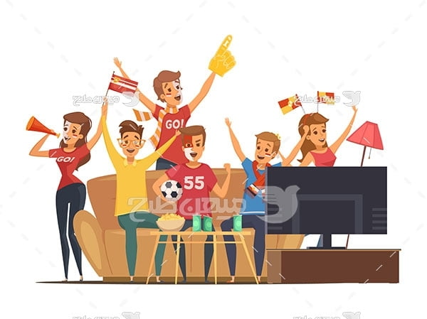 وکتور تماشای فوتبال در خانه