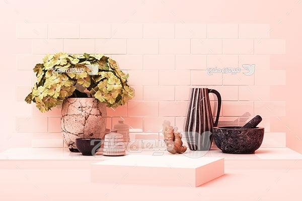 عکس بک گراند مدل مینیمال صورتی با گلدان گل