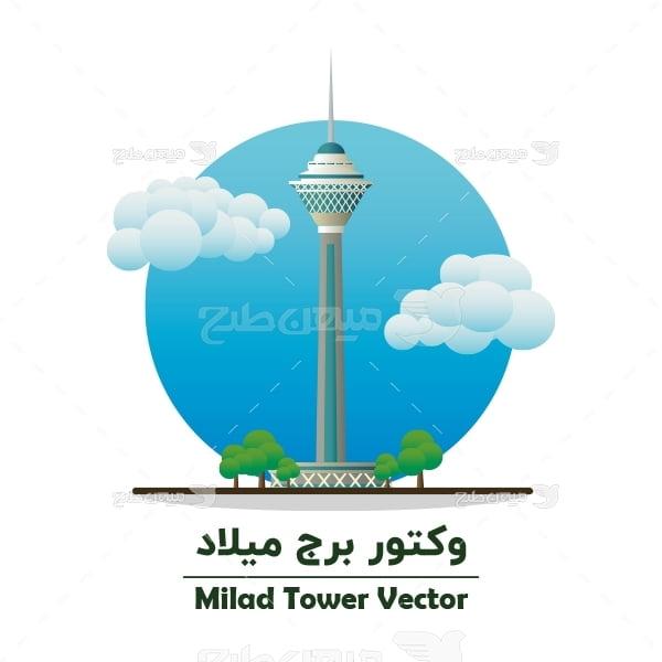 طرح لایه باز وکتور برج میلاد