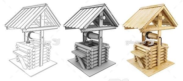 عکس ماکت و طراحی چاه آب چوبی