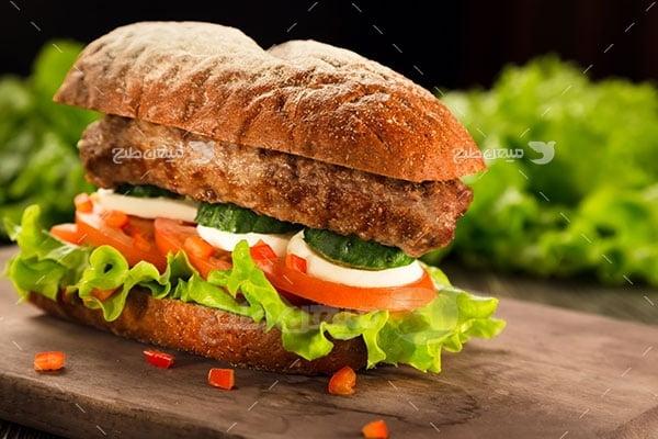 عکس تبلیغاتی غذا و همبرگر مرغ