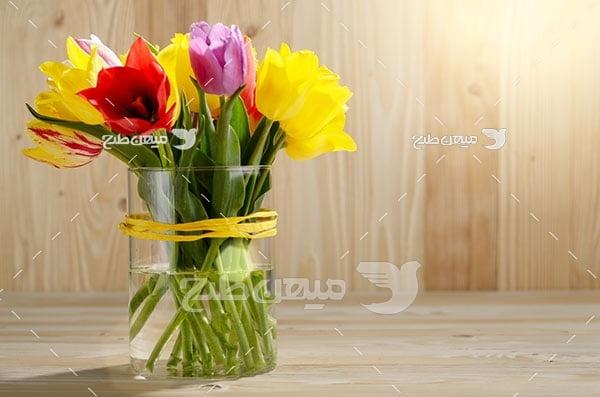 عکس شاخه گل های رنگی در ظرف آب