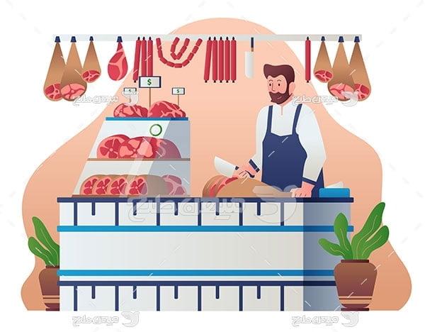 وکتور گوشت فروشی