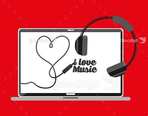 وکتور کاراکتر موسیقی با لپ تاپ