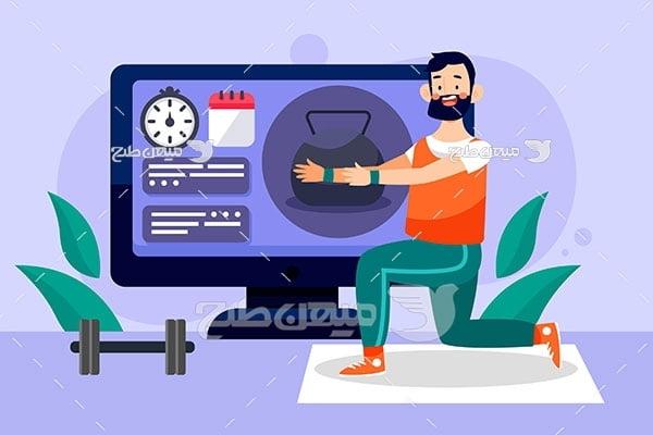 وکتور تمرین ورزشی در منزل