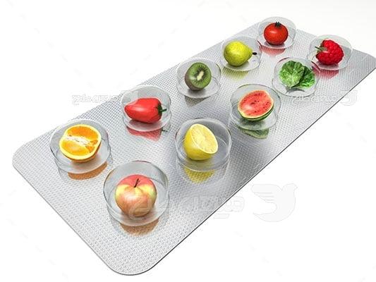 عکس تبلیغاتی غذا و قرص میوه