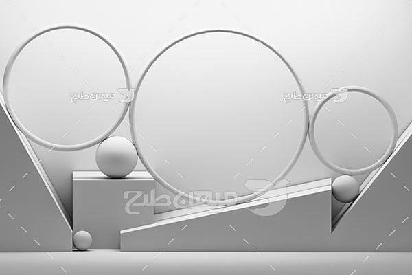 عکس بک گراند مدل مینیمال دایره های خاکستری