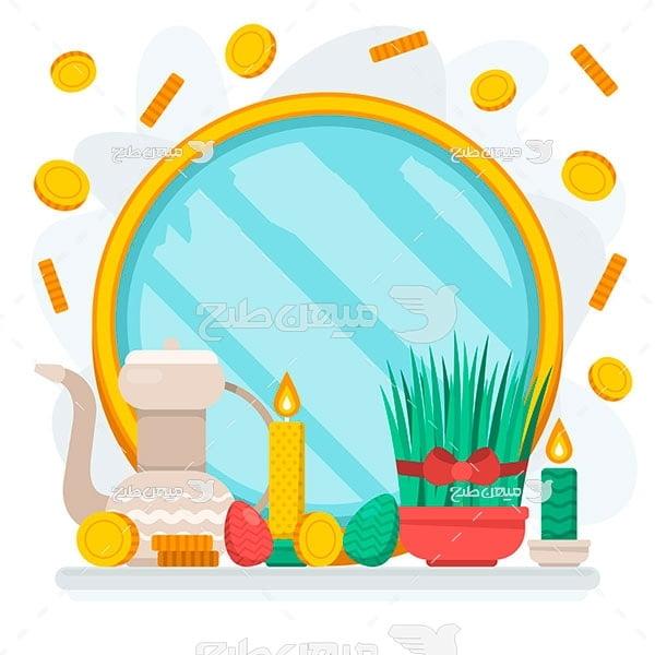 وکتور سکه و سبزه عید