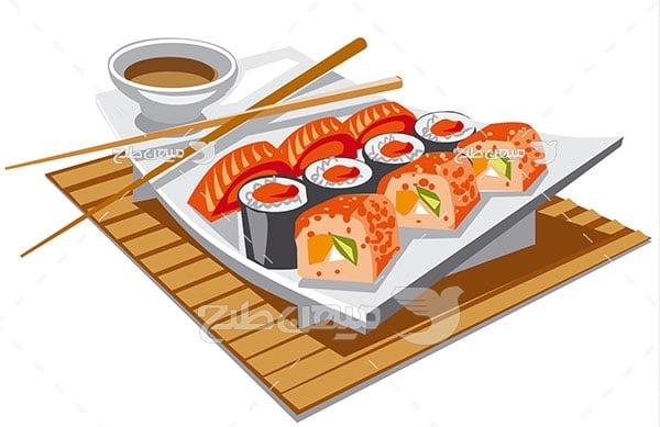 وکتور غذای سوشی