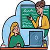 وکتور آموزش و تدریس با کامپیوتر