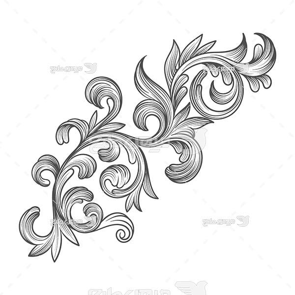 وکتور حاشیه اسلیمی و تذهیب گلدار