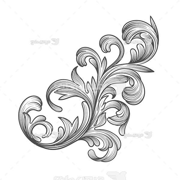 وکتور حاشیه اسلیمی و تذهیب گل
