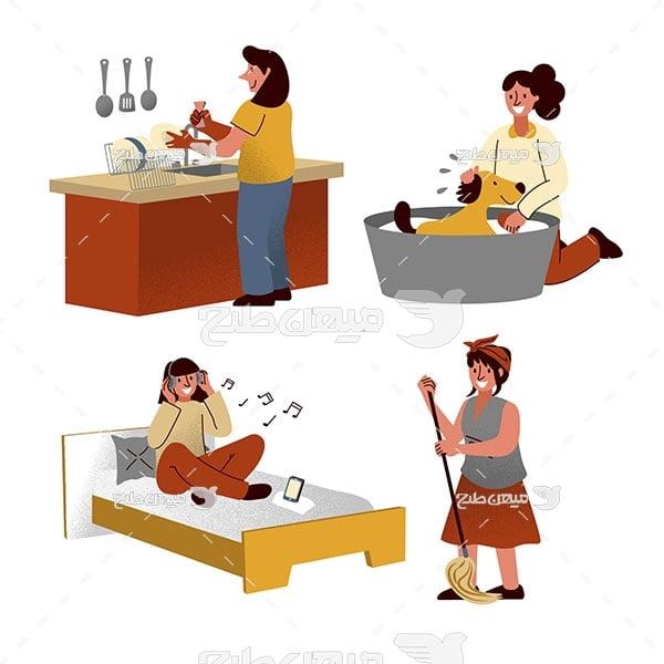 وکتور زن خانه دار