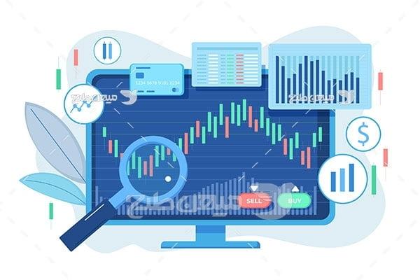 وکتور تحلیل نمودار سهام و بورس
