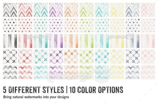 مجموعه ابزارهای فتوشاپ پترن طرح راه راه رنگی