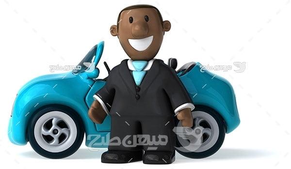 عکس رانندگی با ماشین آبی روشن