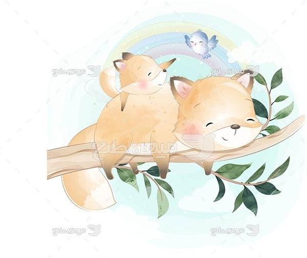 وکتور نقاشی روباه روی درخت