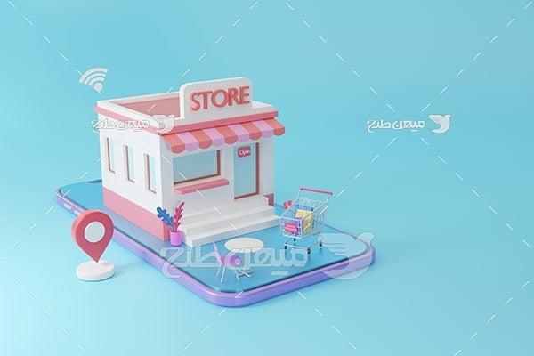 عکس مینیمال سه بعدی فروشگاه دیجیتال