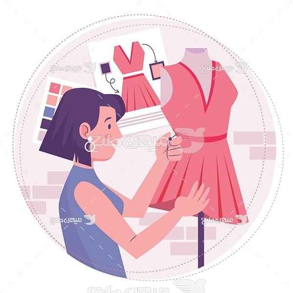 وکتور طراحی و خیاط لباس