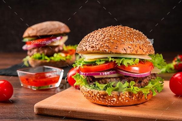 عکس تبلیغاتی غذا همبرگر بزرگ