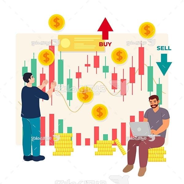 وکتور نمودار کندل سهام