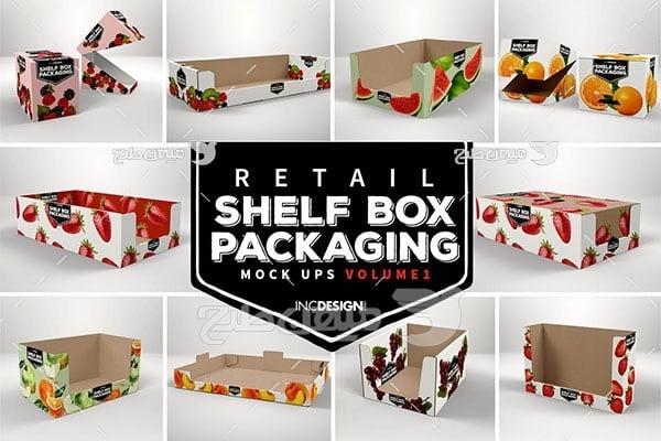 موکاپ طرح روی جعبه و قفسه