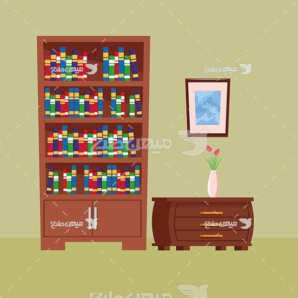 وکتور کمد و کتاب خانه چوبی