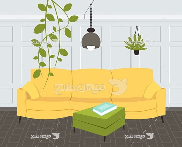 وکتور کاناپه زرد