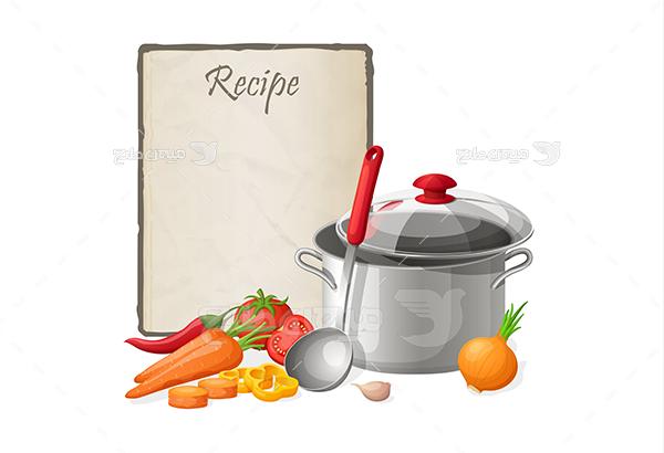 وکتور سبزیجات و ظرف غذا