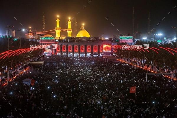 تصویر با کیفیت از گنبد امام حسین علیه السلام در شب اربعین