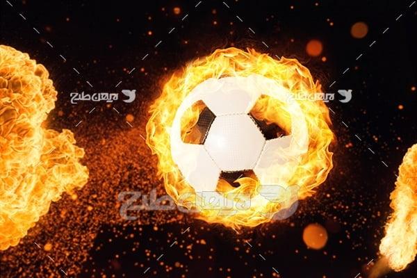 عکس توپ فوتبال آتشین